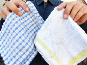 荒拭きタオルと仕上げ拭きタオル