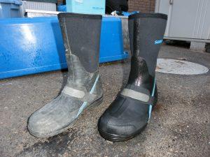 真っ白く汚れたゴム長靴をキレイにする超簡単な方法