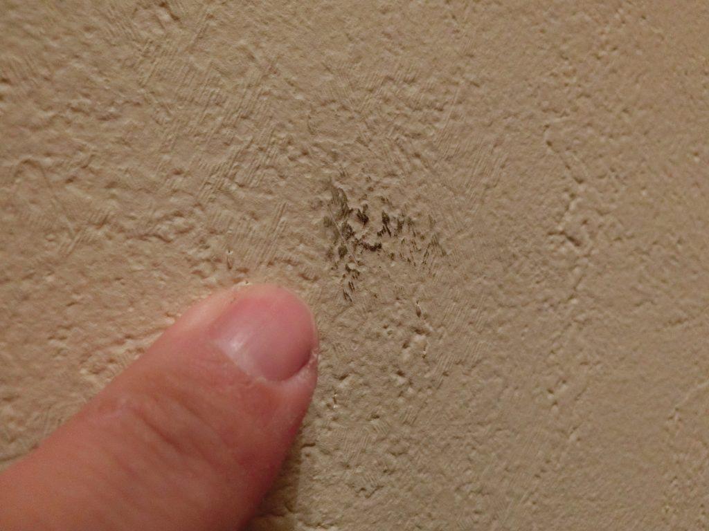 壁紙にこびり付いた黒い汚れを落としてみる